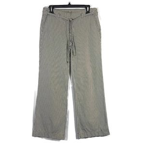 J Crew City Fit Taupe White Stripe Wide Leg Pants